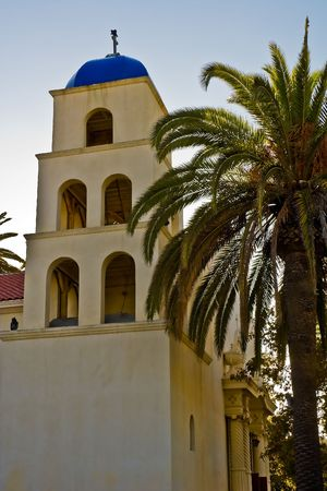 Church Steeple with Blue Roof in Old Town, San Diego, California