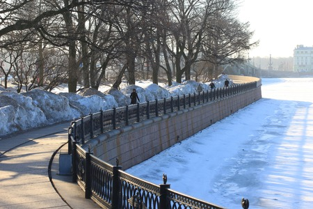 embankment: Embankment at the Peter and Paul fortress at sunny winter day. Saint-Petersburg, Russia