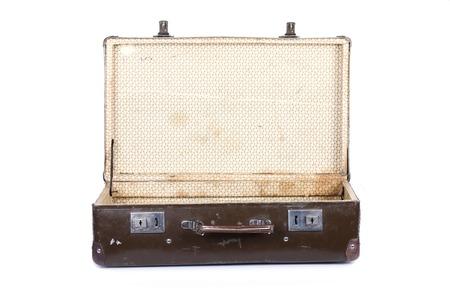open suitcase: Old retro open suitcase isolated on white background Stock Photo