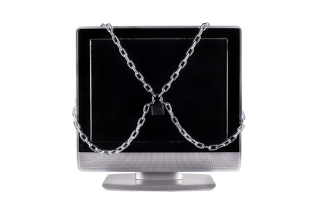 venality: TV locked with chain isolated white background