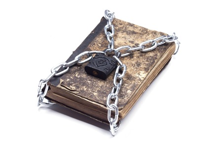tattered: Old vintage tattered book lock with chain and padlock on white background Stock Photo