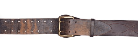 Old leather belt isolated on white background Stock Photo