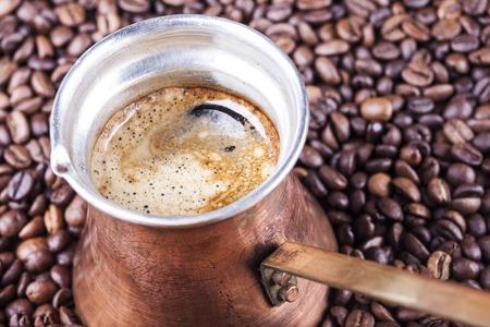 coffee pot: Coffee beans, vintage copper turkish coffee pot, cezve or ibrik