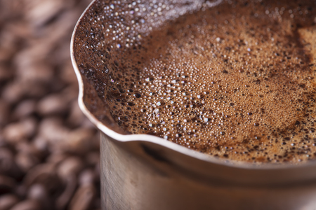 cezve: Coffee beans, vintage copper turkish coffee pot, cezve or ibrik