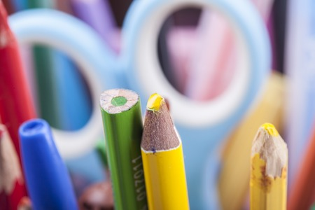 colored pencils: lot of childrens colored pencils close up