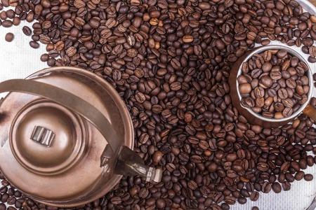 cezve: cezve or ibrik and vintage kettle background
