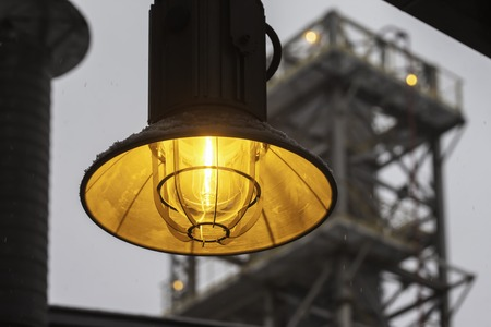 fireproof: yellow fireproof street industrial lantern close up