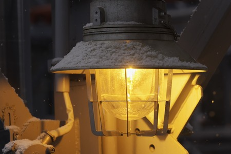fireproof: yellow fireproof explision-proof street industrial lantern close up