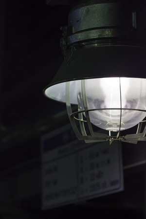 fireproof: led fireproof industrial lantern at the factory close up Stock Photo