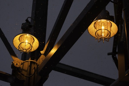 fireproof: yellow fireproof street industrial lanterns close up
