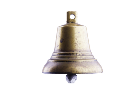noise isolation: bronze bell isolated on white background closeup