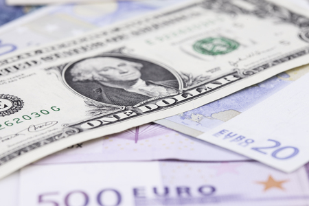 bill dollar against the Euro close up