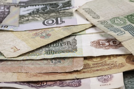 obsolete: banknotes rubles of the currency of the Soviet Union obsolete Stock Photo