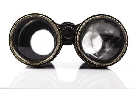 old vintage binoculars close up with white background Stok Fotoğraf