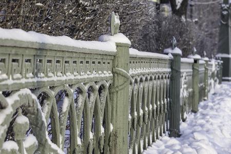 winter photos: the cast iron railings of the bridge, Saint-Petersburg, Russia, winter photos