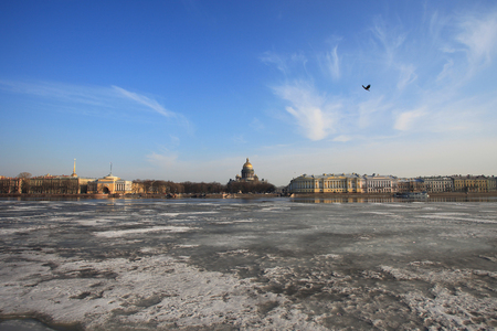 isaac s: Neva river in the early spring of St. Isaacs Cathedral in St. Petersburg Stock Photo