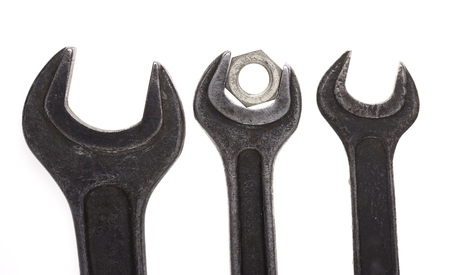 close up isolated: wrenches close up isolated on white background