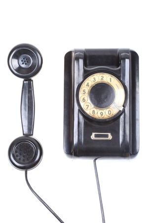 telephone receiver: Vintage telephone receiver isolated on white background