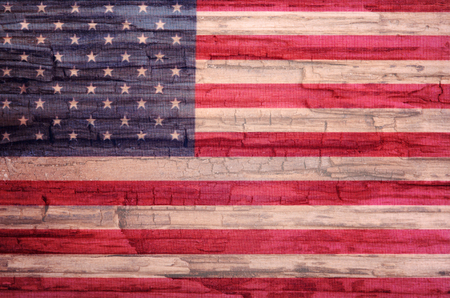 exfoliate: america flag painted on old wood background Stock Photo
