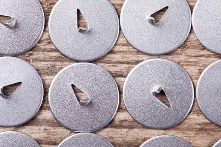 drawing pins: set of metal drawing pins top view