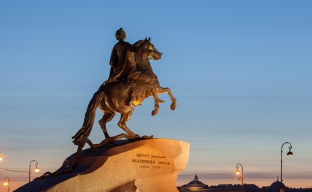 peter the great: Statue of Peter Great, silhouetted against the sunset. Saint-Petersburg, Russia. Stock Photo
