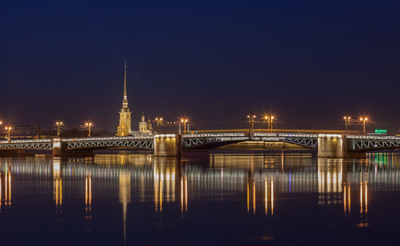 disconnection: Peter and Paul Cathedral, Palace bridge at night