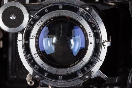 classical mechanics: Lens retro camera looking at you macro close up Stock Photo