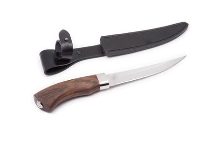 scheide: Jagdmesser und Mantel isoliert auf weiß