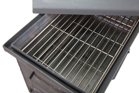 metal box: metal box for Smoking meat and fish isolated Stock Photo