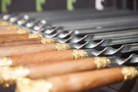 chargrill: skewers for a shish kebab close up Stock Photo