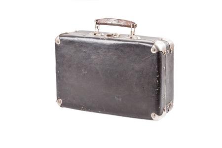 Vintage old suitcase isolated on white background