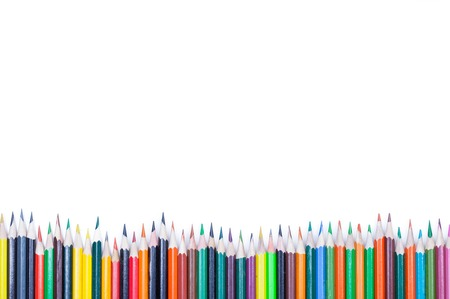 colored pencils on white background isolated close up