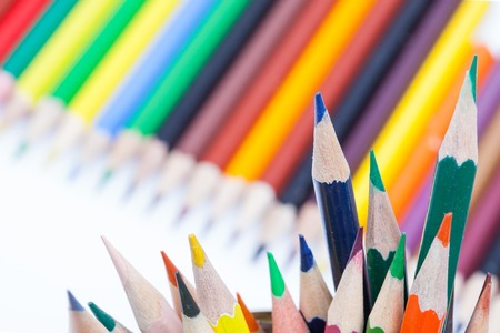 colored pencils on white background close up Imagens