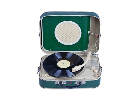 portable vinyl player isolated on white close up Imagens