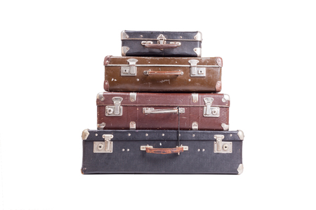 Vintage old suitcases isolated on white background Imagens