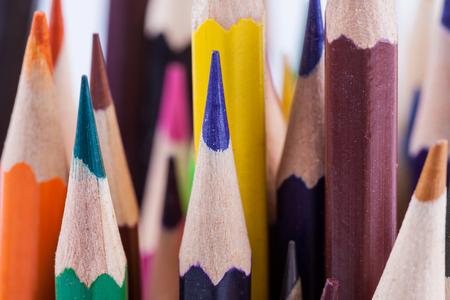 lot of crayons close up macro photo background