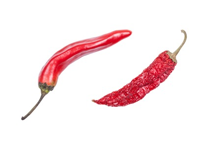 red chili pepper isolated on white closeup