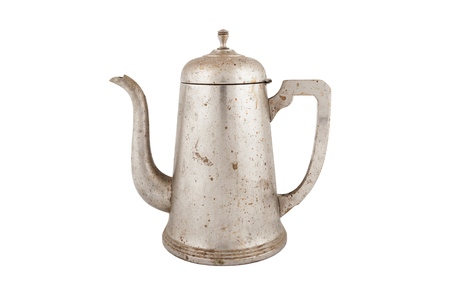 old vintage coffee pot isolated on white background Imagens