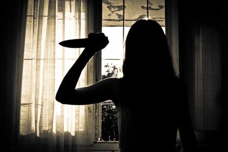 不気味な女性の恐怖シーン 写真素材