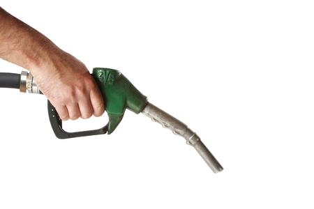 Male hand with gas station pump isolated on white  Stock Photo