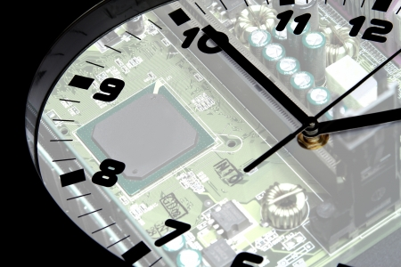 clock and circuit board as the background photo