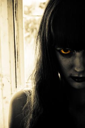 Horror Scene of creepy ženy Reklamní fotografie
