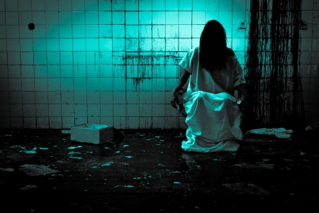 ghost woman: Horror or Scary Scene Stock Photo