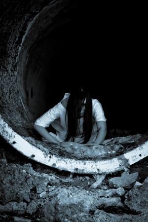 Horor strašidelné žena Reklamní fotografie