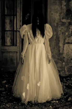 Horror Scene of a Scary Woman - Bride photo