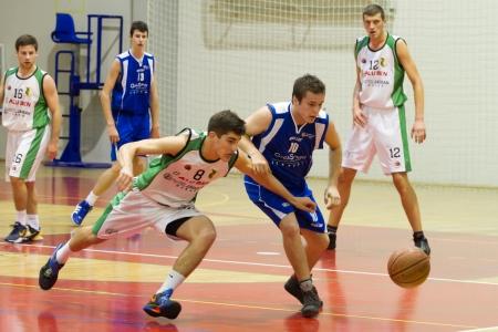 RIJEKA, CROATIA - NOV, 3: basketball match (A-2 Croatian Basketball  League) between Skrljevo (white) and Ghia Staff (blue) on November 3, 2012 in Rijeka, Croatia