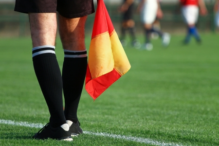 soccer kick: Soccer referee Stock Photo