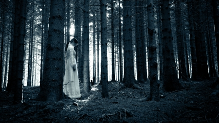 creepy: Woman with long black hair in white dress in the spooky dark forest