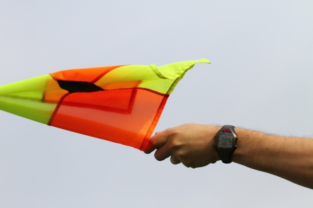 penalty flag: Soccer referee Stock Photo