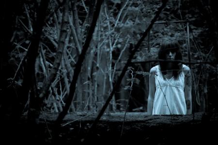 Horror scéna strašidelné ženy Reklamní fotografie